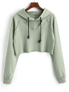 Raglan Sleeve Cut Out Cropped Hoodie - Pea Green M