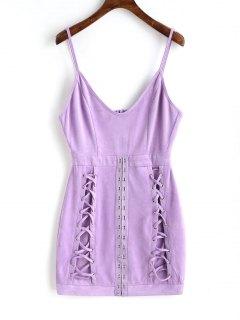 Faux Suede Buckle Lattice Mini Dress - Purple L