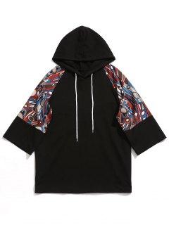 Raglan Sleeve Abstract Print Hoodie - Black L