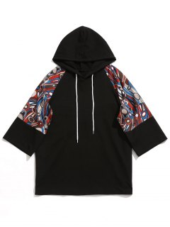 Raglan Sleeve Abstract Print Hoodie - Black M