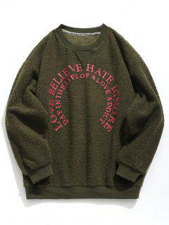 Graphic Plush Sweatshirt - Army Green L