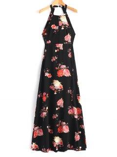 Robe Maxi Florale œillet Ouverte Au Dos - Noir M