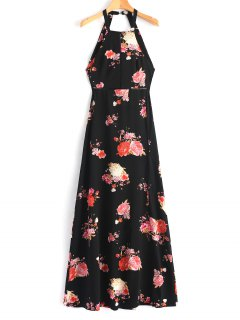 Flower Open Back Eyelet Maxi Dress - Black L