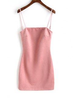 Nachbindung Wildleder Schnur Gebunden Mini Kleid - Pink S