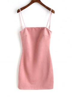 Faux Suede Lace Up Mini Dresss - Pink L