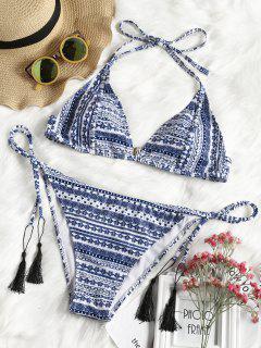 Plus Size Tribe Print String Bikini Set - Multicolor Xl