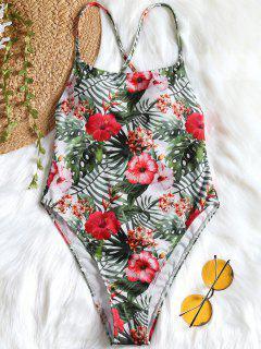 One Piece Tropical High Cut Swimsuit - Floral L