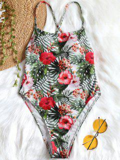 One Piece Tropical High Cut Swimsuit - Floral M