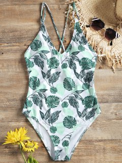 Cross Back One Piece Tropical Leaf Swimsuit - Green M