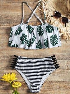 Haut Bikini à Volants Motif Palmiers Et Bas à Rayures Avec Découpes En Echelle - Blanc M
