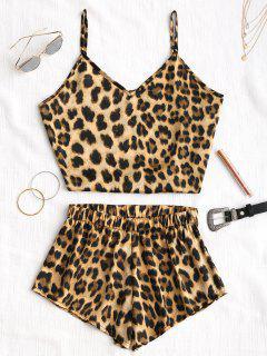 Leopard Top Und Hoch Taillierte Shorts - Leopard Print Muster S