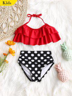Kid Tiered Top With Polka Dot Swim Bottoms - Red 5t
