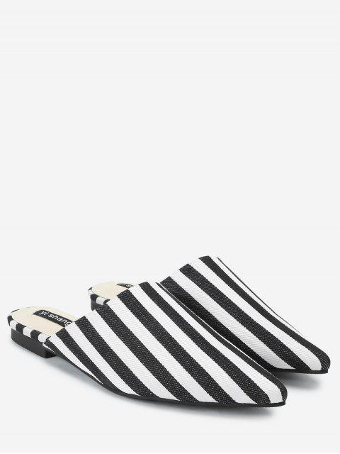 buy Striped Backless Loafers - STRIPE 39 Mobile