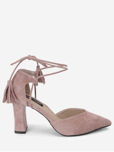 fashion Pointed Toe Ankle Strap Sandals - PINK 34 Mobile