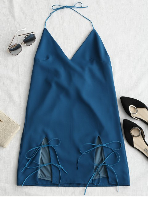 ladies Cut Out Tied Cami Trapeze Dress - AZURE BLUE M Mobile