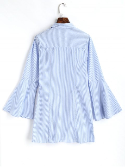 buy Gathered Striped Bell Sleeve Shirt - LIGHT BLUE L Mobile