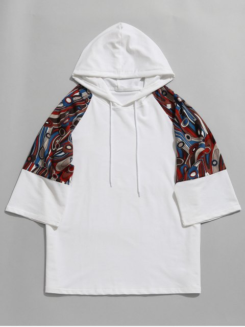 Raglan Sleeve Abstract Print Hoodie - Blanco M Mobile