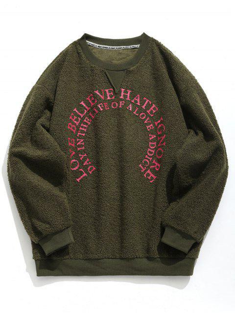 sale Graphic Plush Sweatshirt - ARMY GREEN M Mobile
