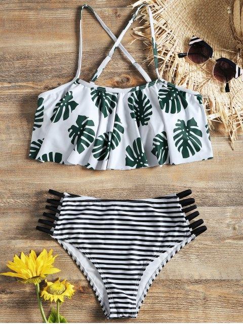 shops Palm Flounce Bikini Top and Ladder Cut Stripe Bottoms - WHITE S Mobile
