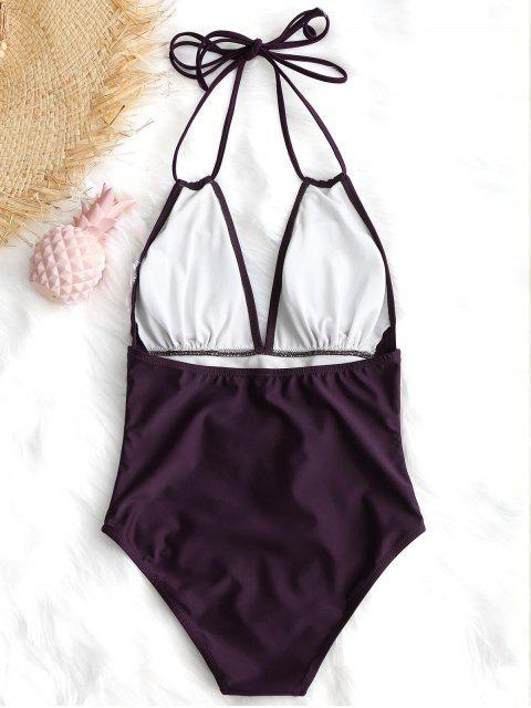 Halter de talle alto de una sola pieza traje de baño - Rojo purpúreo S Mobile