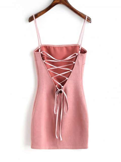 ladies Faux Suede Lace Up Mini Dresss - PINK M Mobile