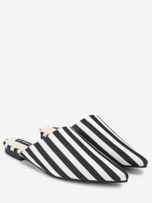 Striped Backless Loafers