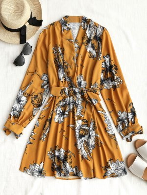 Long Sleeve Floral Mini Dress - Mustard S
