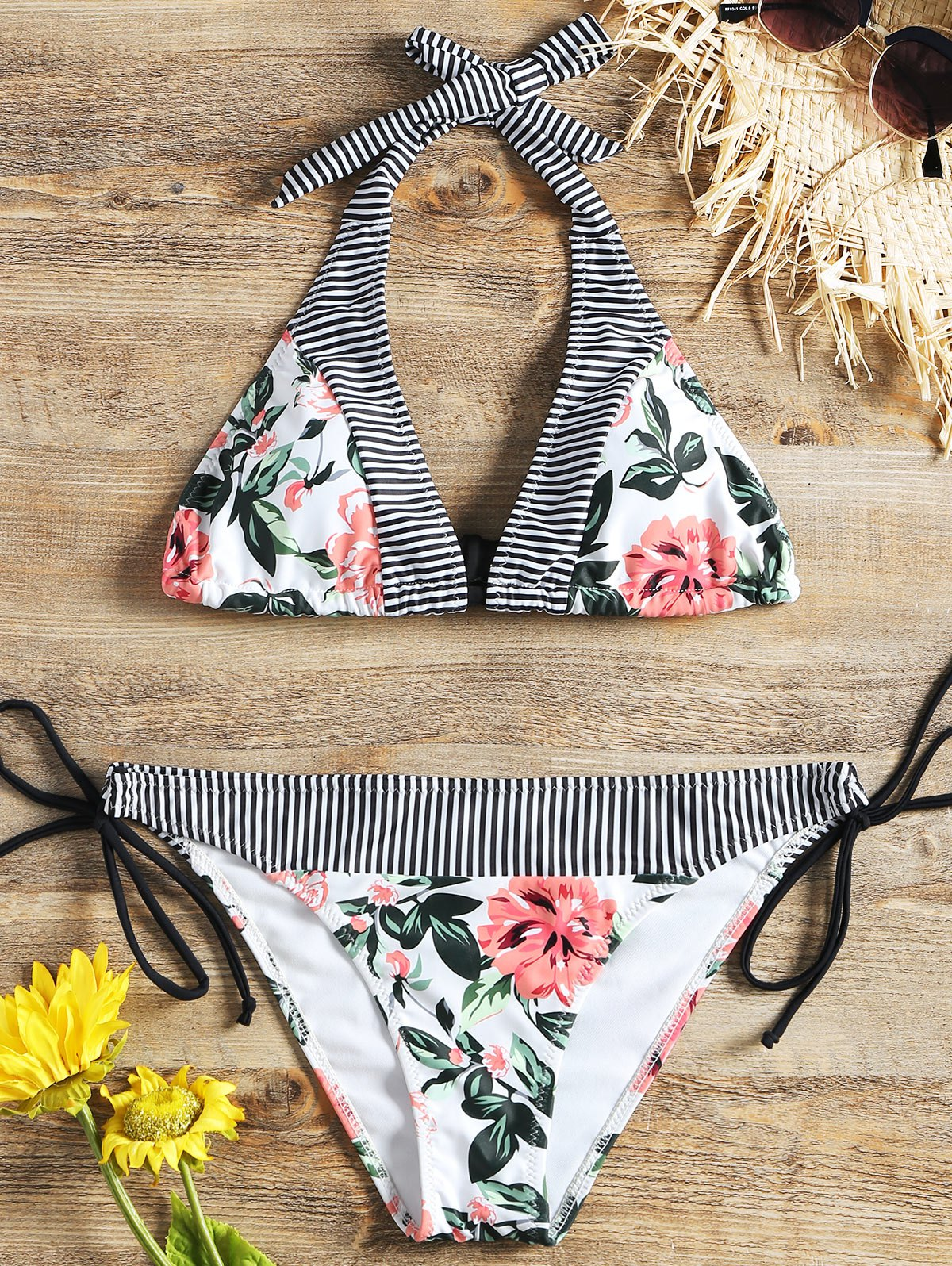 Floral Padded Bra with Tie Side Swim Bottoms 256891901