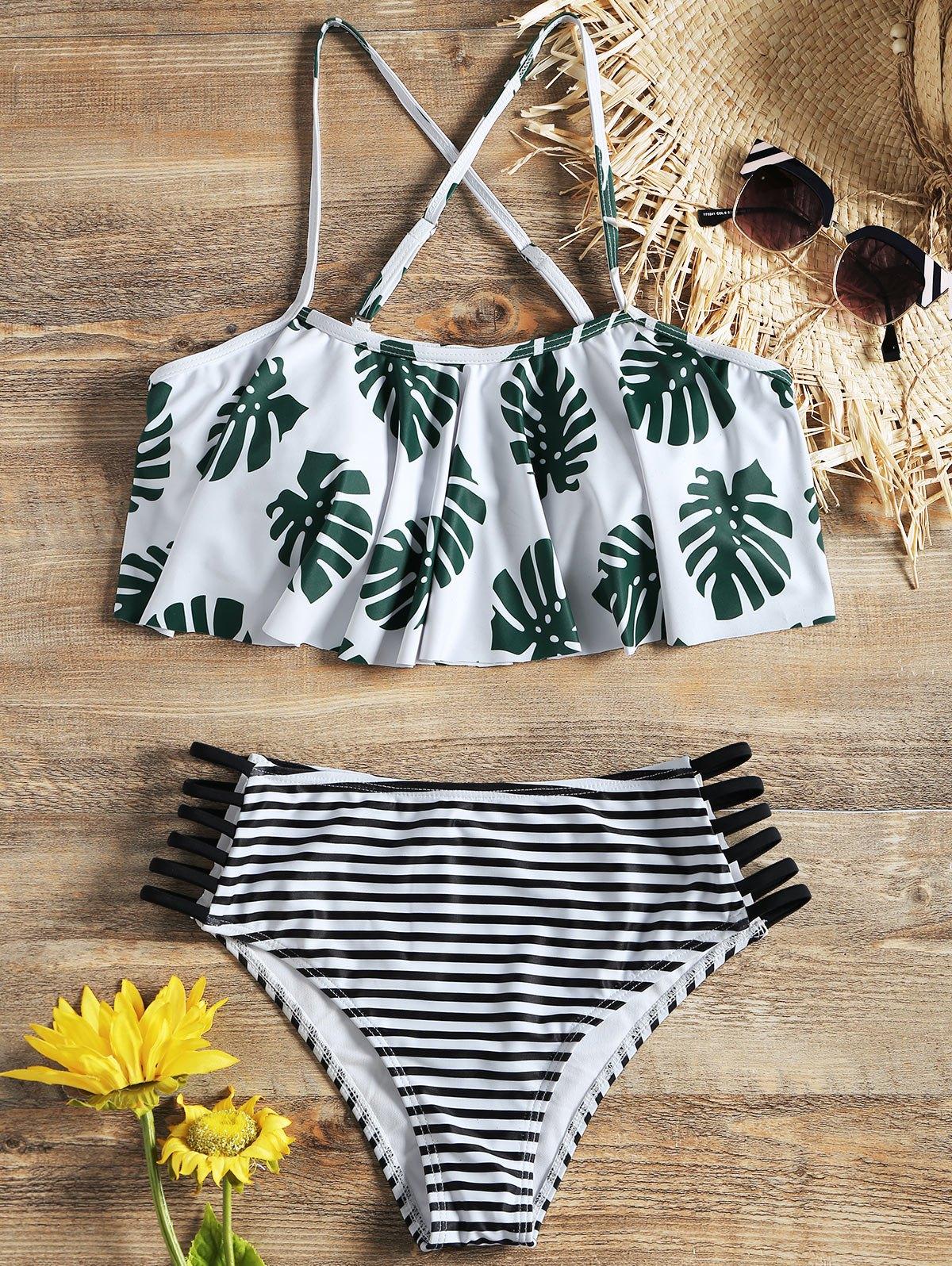 Palm Flounce Bikini Top and Ladder Cut Stripe Bottoms