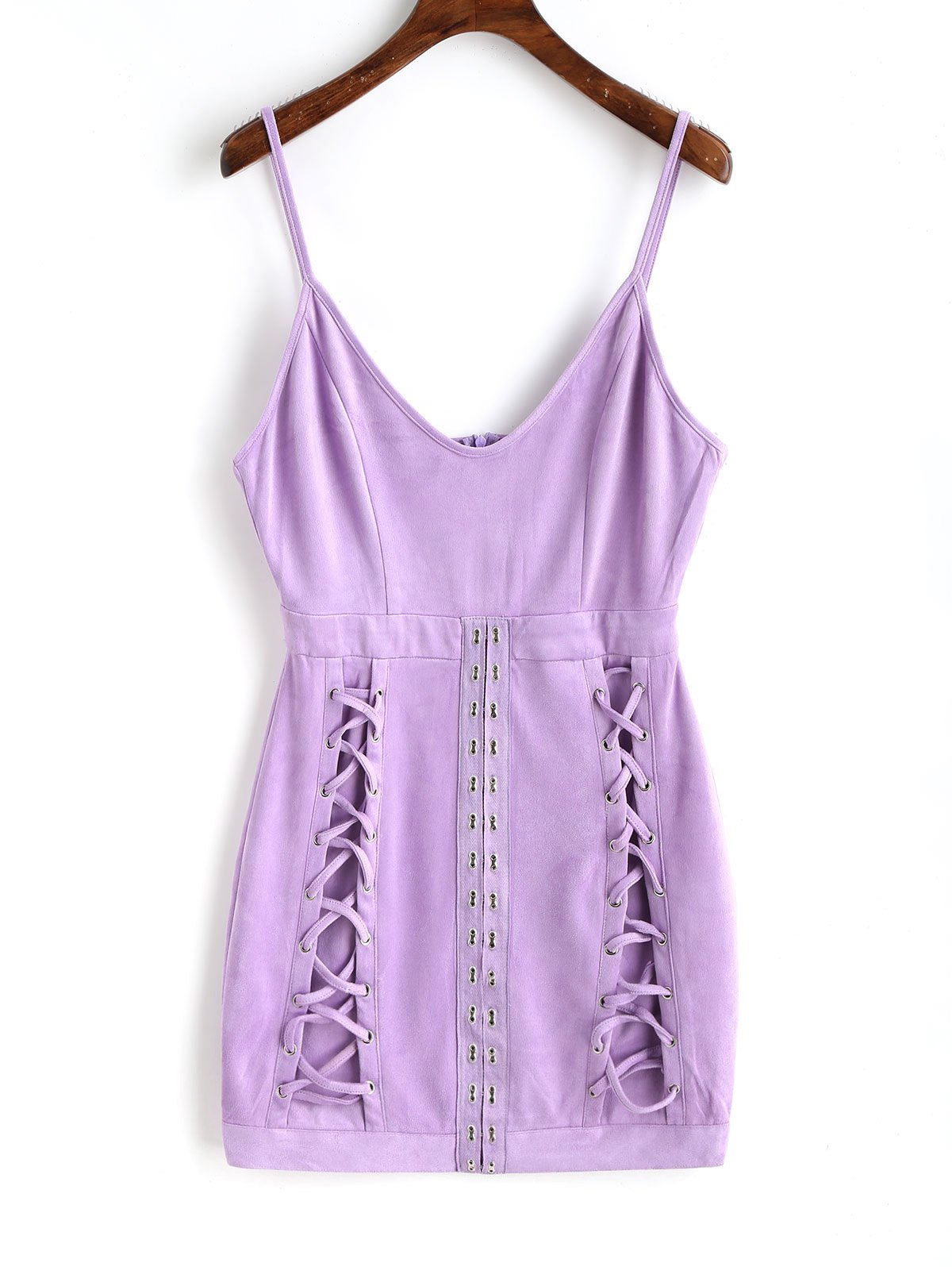 Faux Suede Lattice Mini Dress 256618501