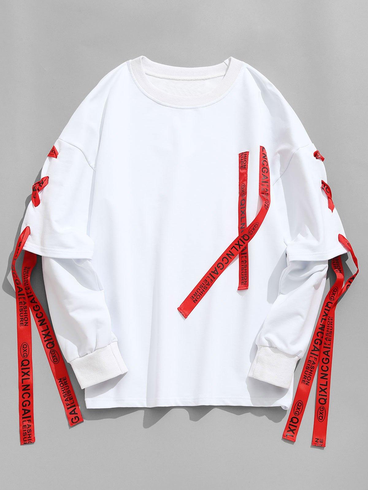 Ribbon Lace-up Sweatshirt