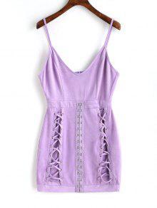فستان مصغرة مقلد الجلد المدبوغ مشبك   - أرجواني L