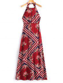 فستان طويل مفتوح الذراعين العيينة   - أحمر غامق M