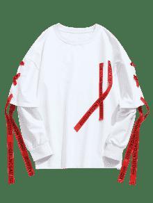Ribbon Lace Up Sweatshirt