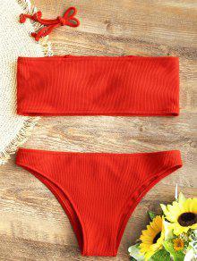 6fff8e6f9a1383 Ribbed Texture Bandeau Bikini Set; Ribbed Texture Bandeau Bikini Set ...