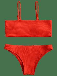 618cc032aa 15% OFF   HOT  2019 Ribbed Texture Bandeau Bikini Set In RED