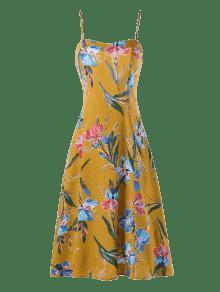 L Con De Strap Floral Jengibre Cami Estampado Vestido W0wfqBUvq
