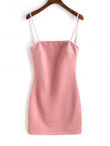 فستان صغير مقد الجلد المدبوغ مع الرباط  - زهري S