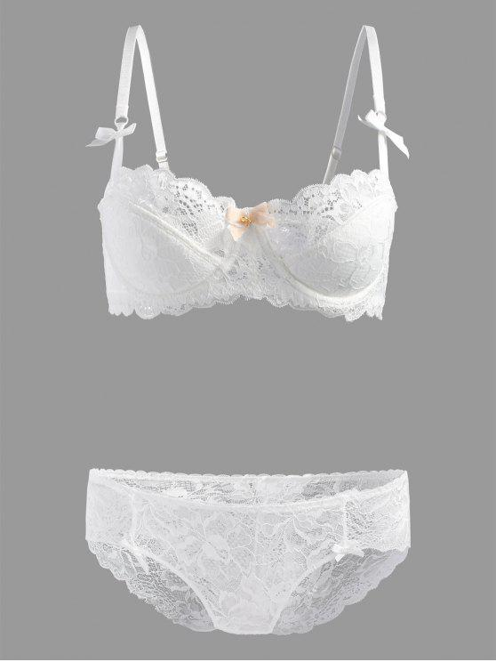 Lace Scalloped Underwire Bra Set - Branco 85D