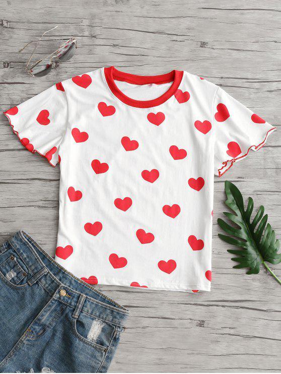 T-Shirt Imprimé Cœur Ourlet Laitue - Blanc M