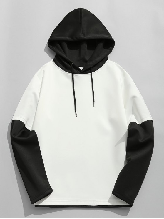 women Color Block Space Cotton Hoodie - WHITE AND BLACK L