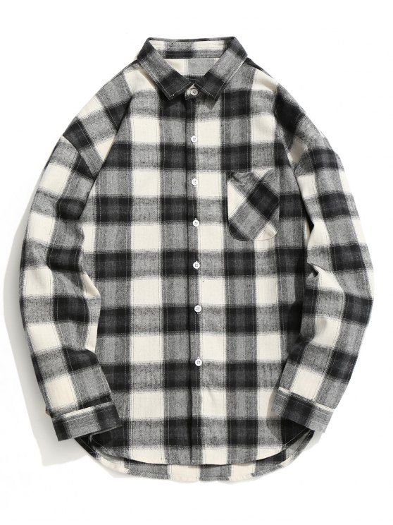 lady Checked Button Up Shirt - GREY AND WHITE XL