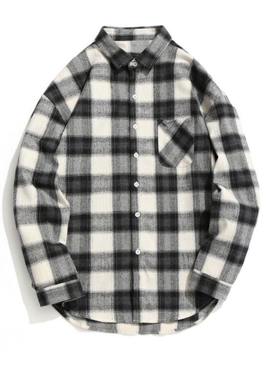 قميص من قماش المربعات بأزرار - رمادي وأسود L