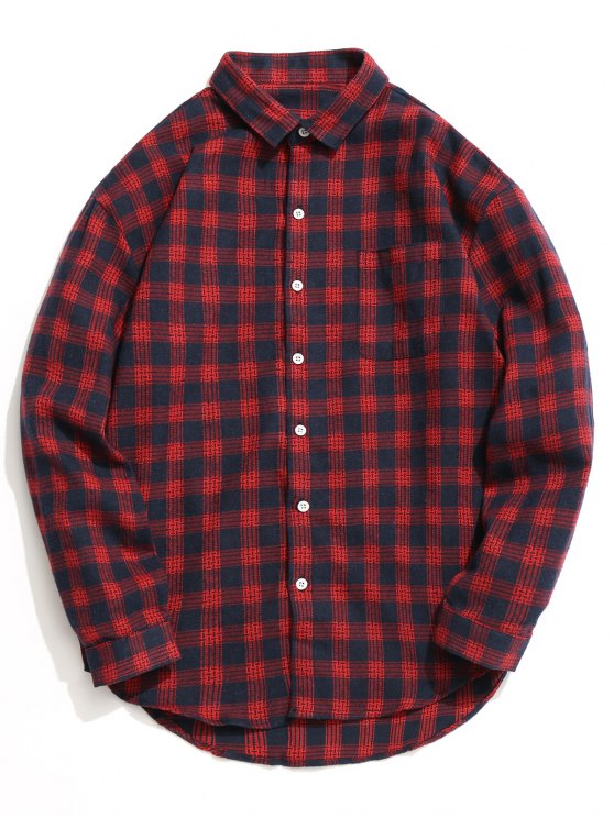 قميص تارتان بأزرار - أحمر 2XL