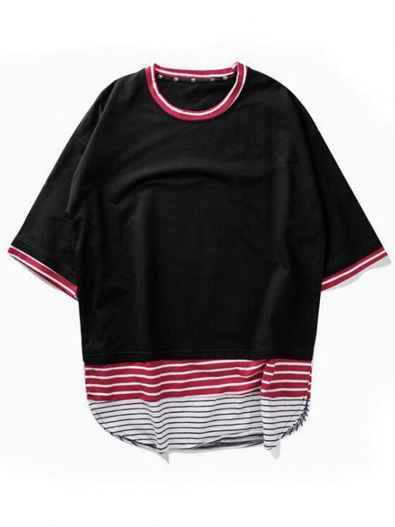 Gestreiftes T-Shirt mit Bogensaum - Schwarz XL