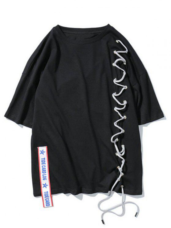 Streetwear Ribbon Lace-Up T-shirt - Noir M