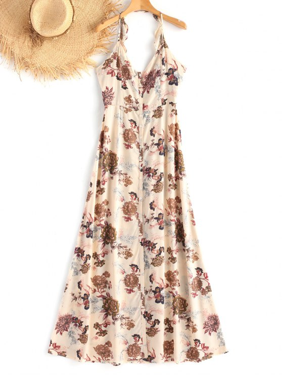 Cami High Slit Floral Maxi Beach Dress - Floral L
