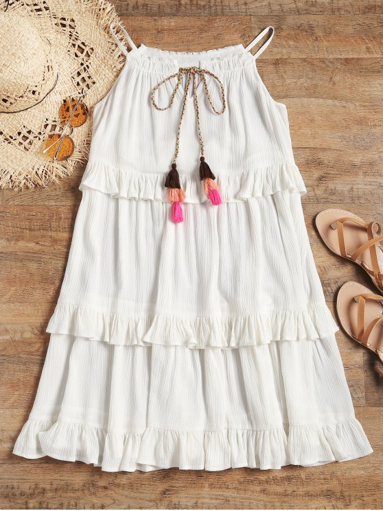 ladies Tiered Crinkly Cami Beach Dress - WHITE S