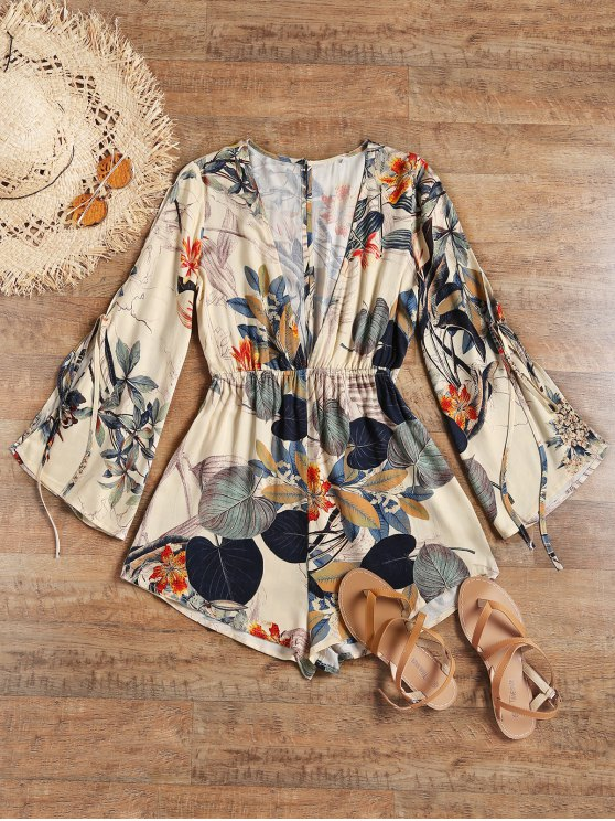 ladies Slit Sleeve Low Cut Leaf Beach Romper - APRICOT S