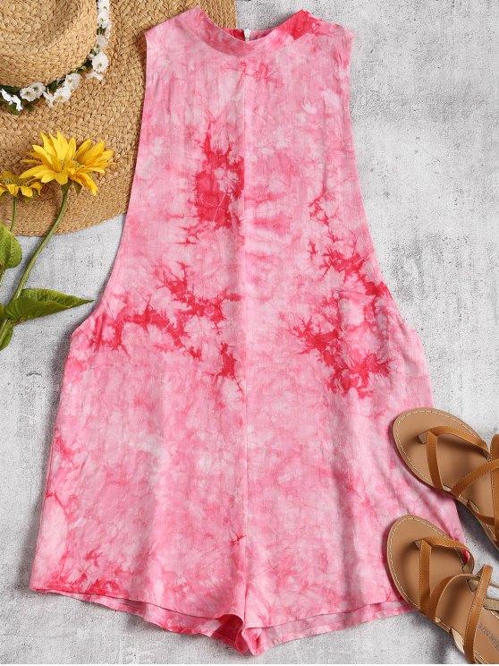 womens Dropped Armhole Tie Dyed Romper - TUTTI FRUTTI S